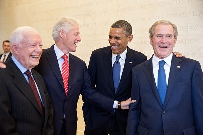 President Barack Obama laughs with former Presidents Jimmy Carter, Bill Clinton, and George W. Bush, prior to the dedication of the George W. Bush Presidential Library and Museum on the campus of Southern Methodist University in Dallas, Texas, April 25, 2013. (Official White House Photo by Pete Souza)   This official White House photograph is being made available only for publication by news organizations and/or for personal use printing by the subject(s) of the photograph. The photograph may not be manipulated in any way and may not be used in commercial or political materials, advertisements, emails, products, promotions that in any way suggests approval or endorsement of the President, the First Family, or the White House.